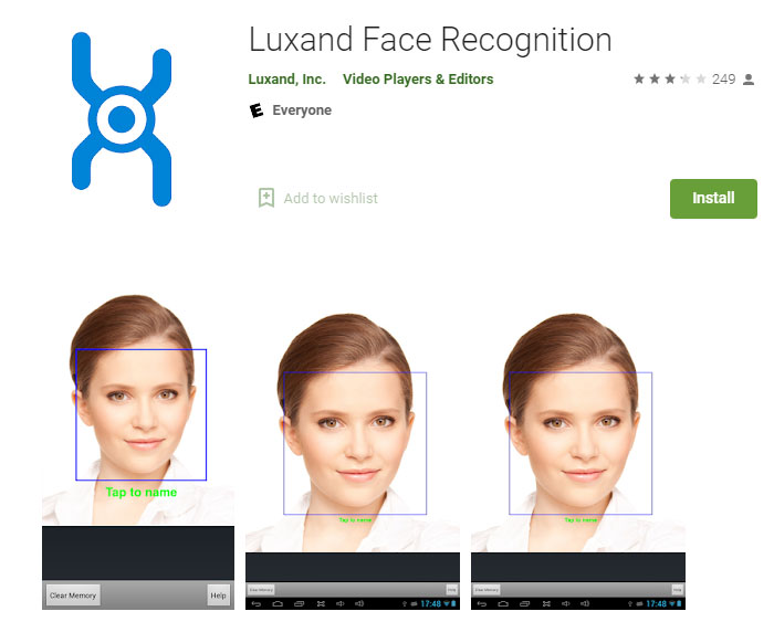Luxand face recognition application